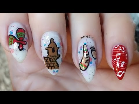 Puerto Rico Nail Design Tutorial - Parranda Nails - YouTube