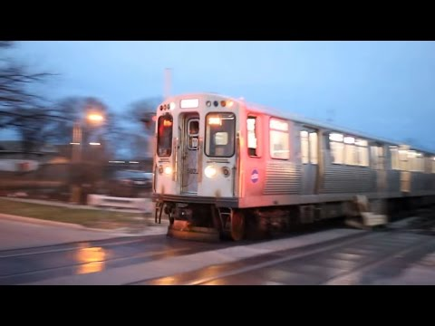 Chicago Transit Authority Pink Line Train crosses 47th Avenue