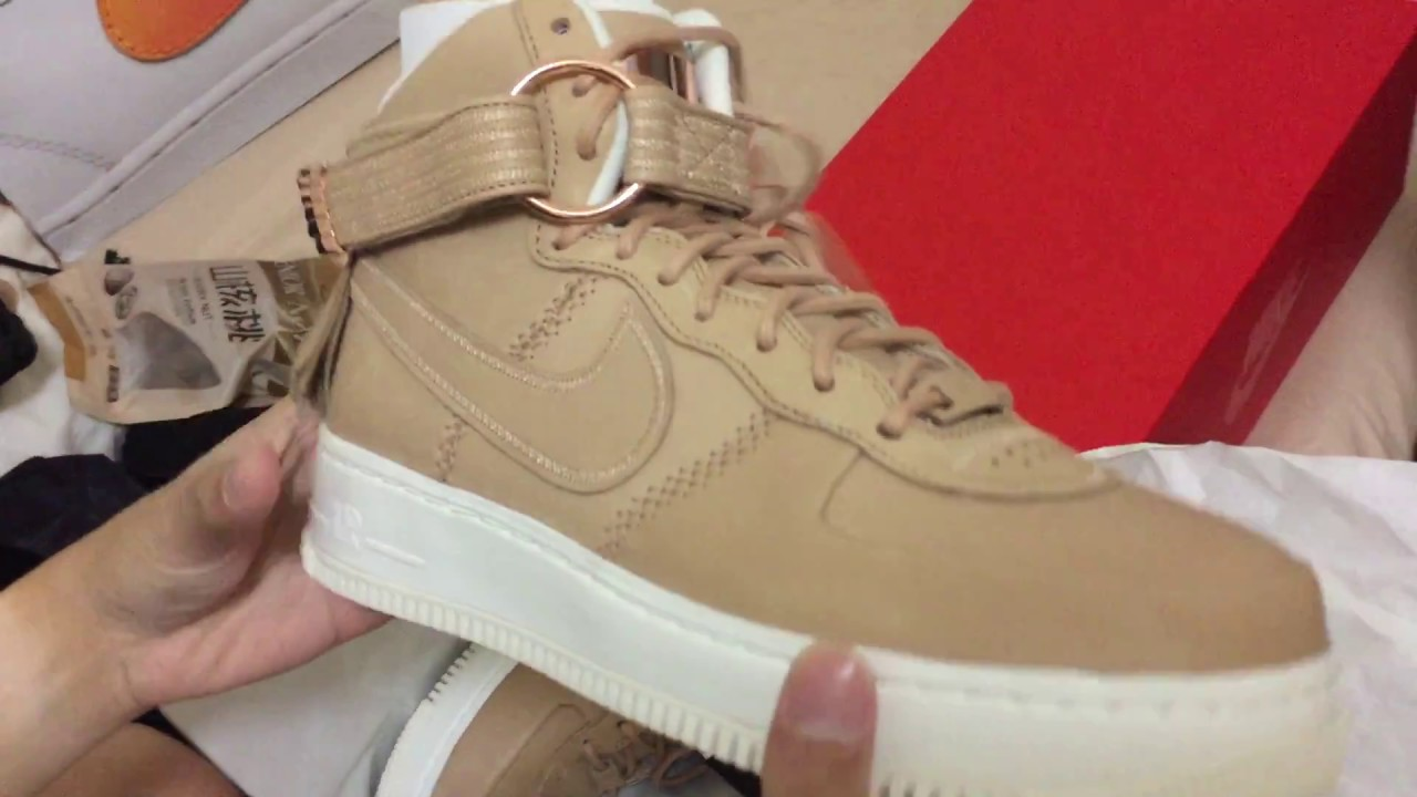 f9069214e5f8 Unboxing Nike Air Force 1 High Sport Luxury  Vachetta Tan  - YouTube