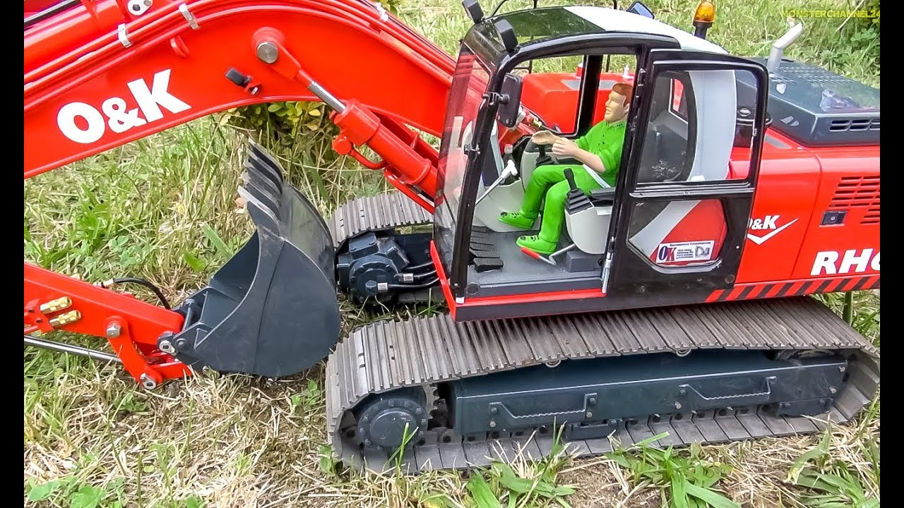 Big Rc Excavator Action Caterpillar Liebherr Co Working Hard Youtube