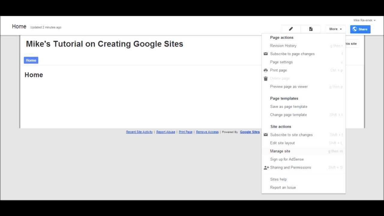 Page Site Settings Of Google Sites Sites Tutorial 3 Of 5 Youtube