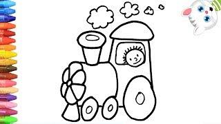 Pagina di Colorazione Treno 🚂   Come disegnare e colora per i bambini