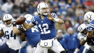Indianapolis colts quarterback andrew luck completes an 80-yard pass to wide receiver reggie wayne, breaking the franchise's single-season passing yardage re...