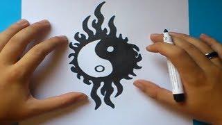 Como dibujar un simbolo yin yang paso a paso | How to draw one yin yang symbol