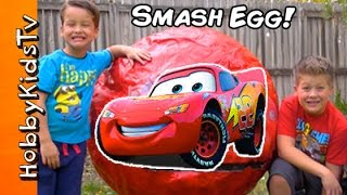 World's Biggest Lightning McQueen SMASH EGG Surprise by HobbyKidsTV