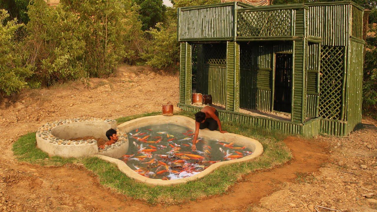 Build The Creative Bamboo Villa With  Garden Design Ideas  Beautiful Aquarium