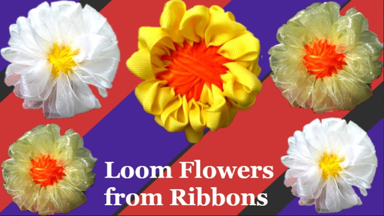 loom flower with handmade loom maker step by step|Satin ribbon craft  idea/Easy loom flower making