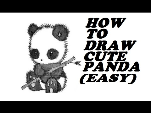 How to draw cute panda realistic easy