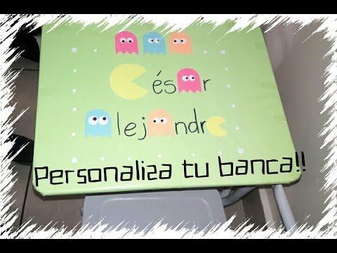 DIY Personaliza tu banca del colegio!! •••• Pac Man •••• - YouTube