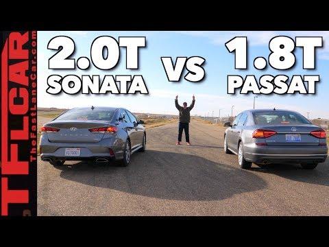Won It By A Nose! VW Passat vs Hyundai Sonata Drag Race