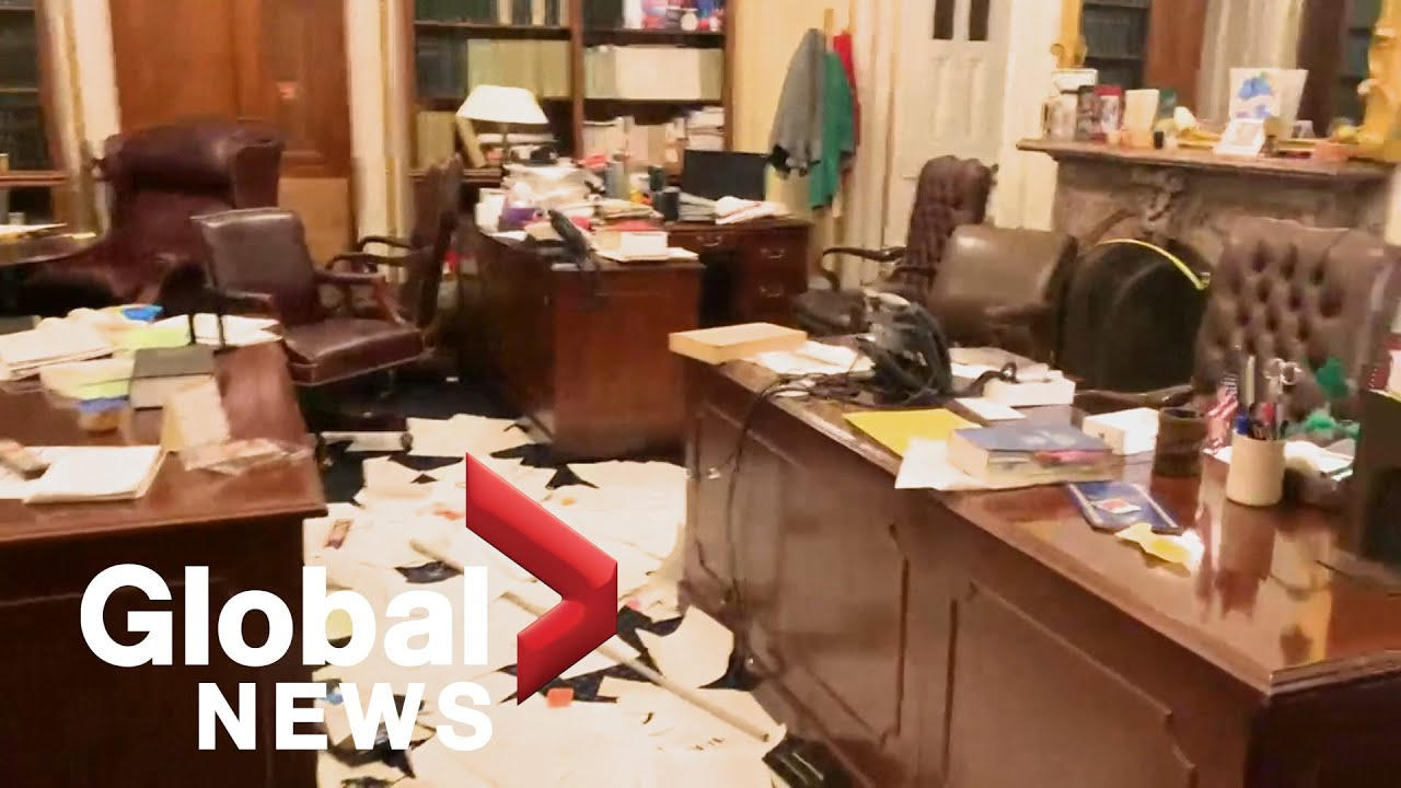Video shows extent of damage, disarray inside US Capitol building following riot