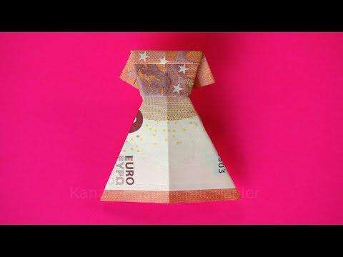 Geldscheine falten Kleid zum Geldgeschenke basteln zB