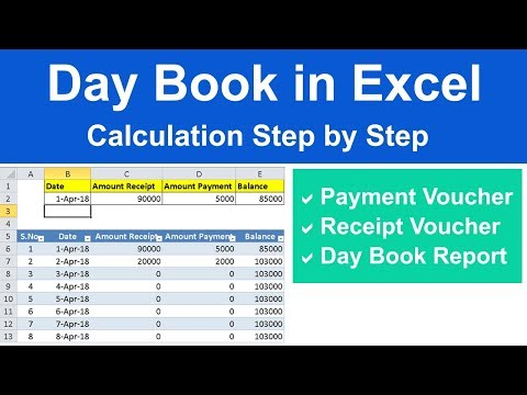 How to Create Day Book Report in Excel in hindi step by step