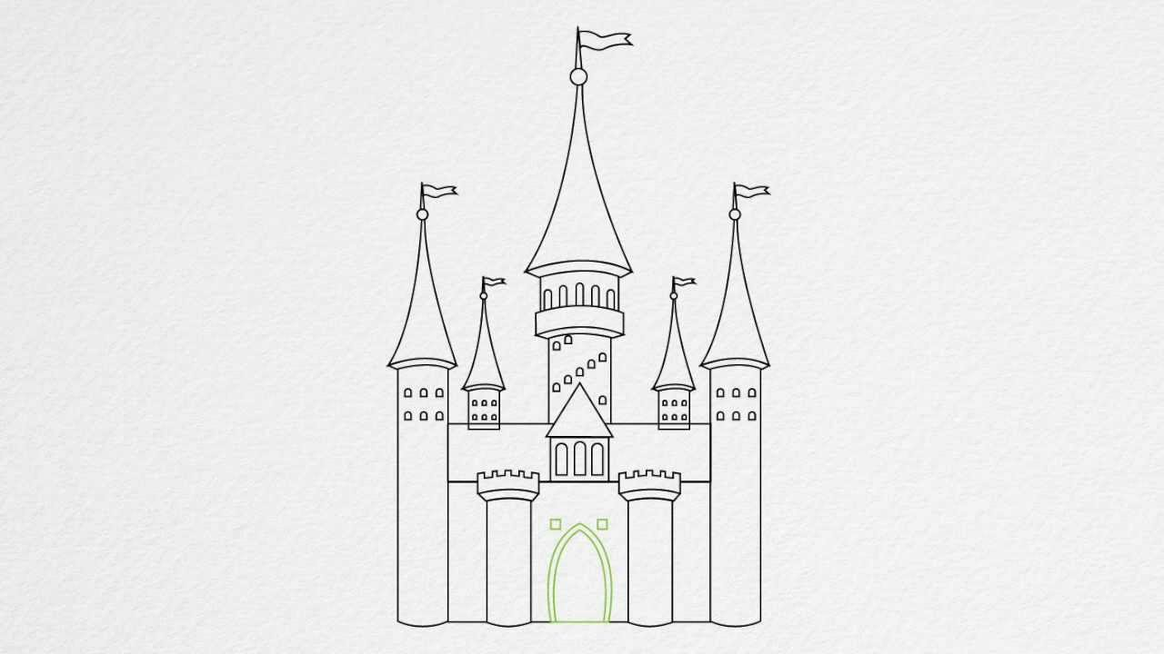 How to draw a CASTLE step by step - YouTube
