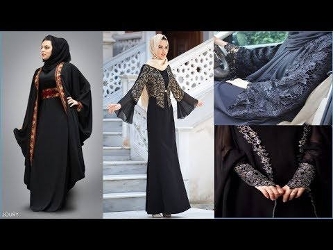 94656e4bac4 Latest Fancy Lace Embroidered Abaya Designs Collection 2018-19 - YouTube