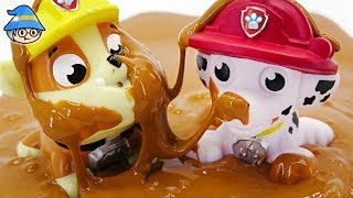 Paw Patrol and TAYO the little buses are playing mud. Learn color and make color jelly.