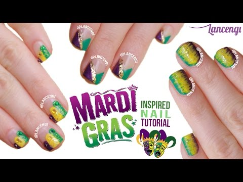 Easy Nail Art For Beginners #27 - Cute Mardi Gras Polish Designs