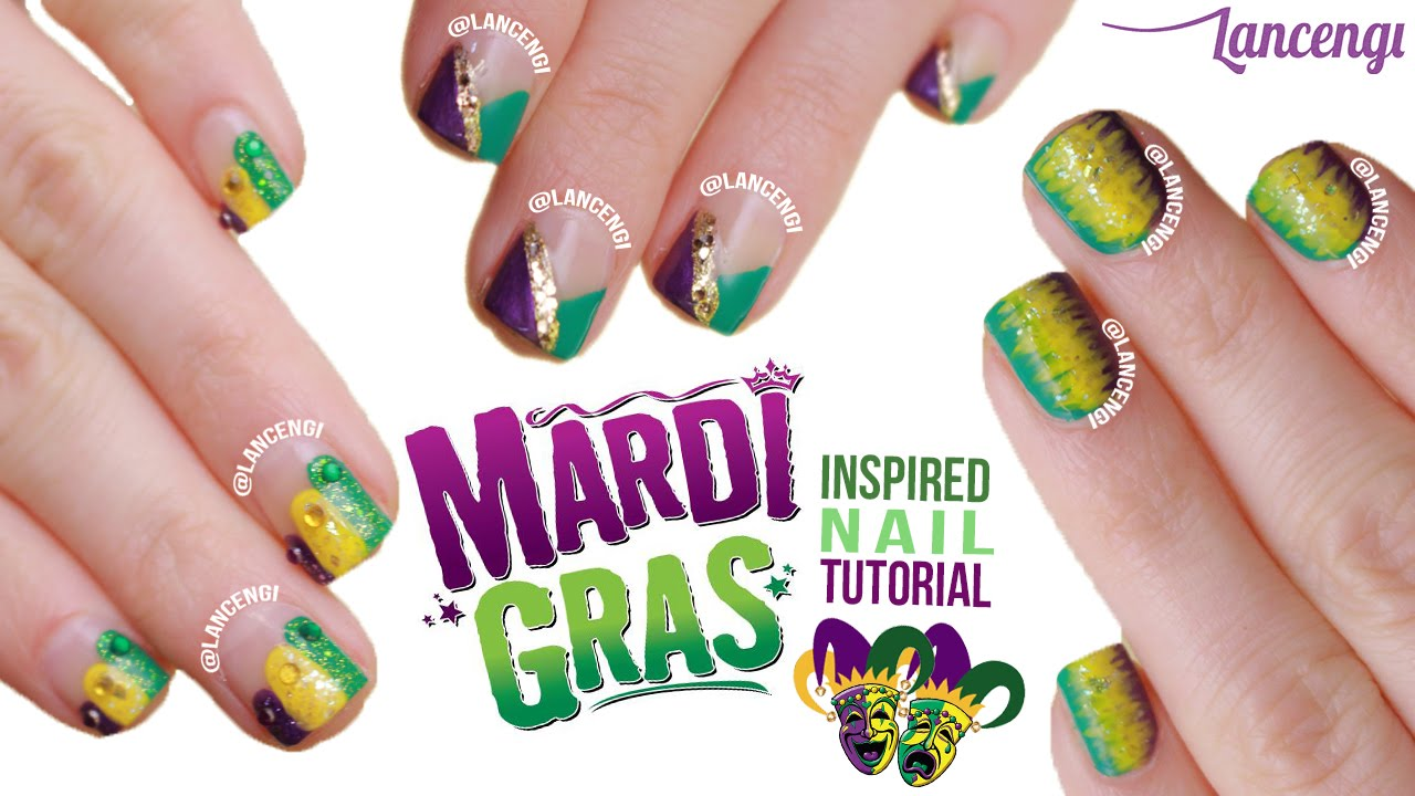 Easy Nail Art For Beginners #27 - Cute Mardi Gras Polish Designs ...