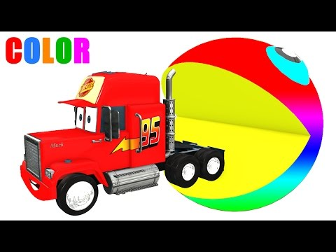 Color Pacman MACK Truck in Cars Cartoon 3D and Colors for Kids & Children Video