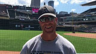 Augustana Baseball Head Coach Tim Huber Throws Out First Pitch at Twins Game