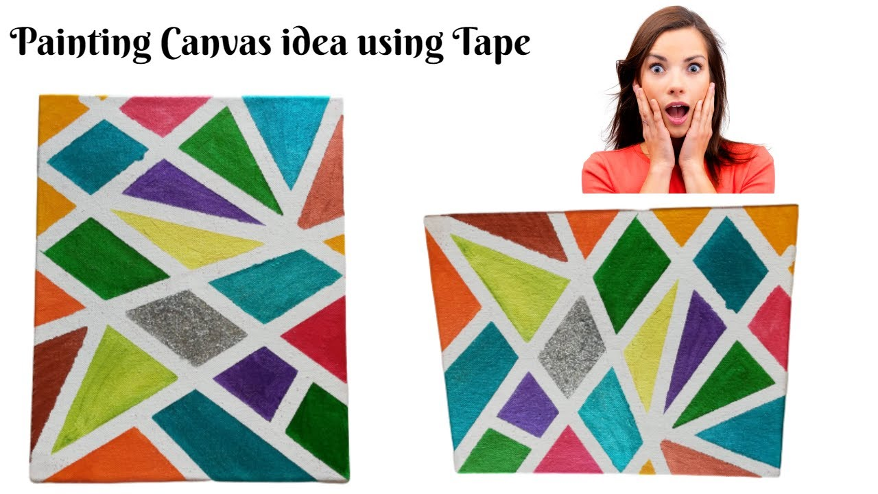 Canvas Painting Ideas Geometric Painting Technique Easy Art Idea Canvas Painting Youtube
