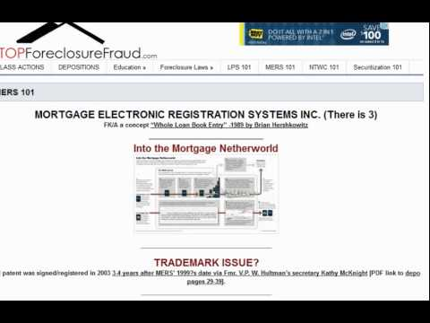 MERS 101 Mortgage Electronic Registration Systems Inc., All About Foreclosure Fraud