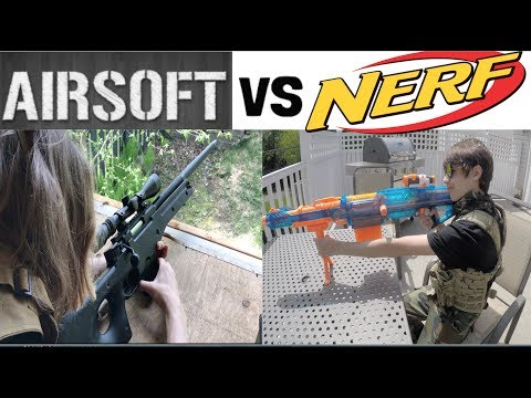 Airsoft Sniper vs Nerf Sniper