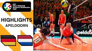 Germany vs Netherlands Highlights CEV Women s Tokyo Volleyball Qualification 2020