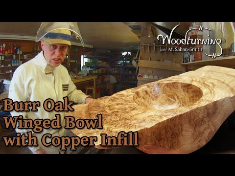 #60 -  Woodturning Burr Burl Oak Winged Bowl with Copper Inlay