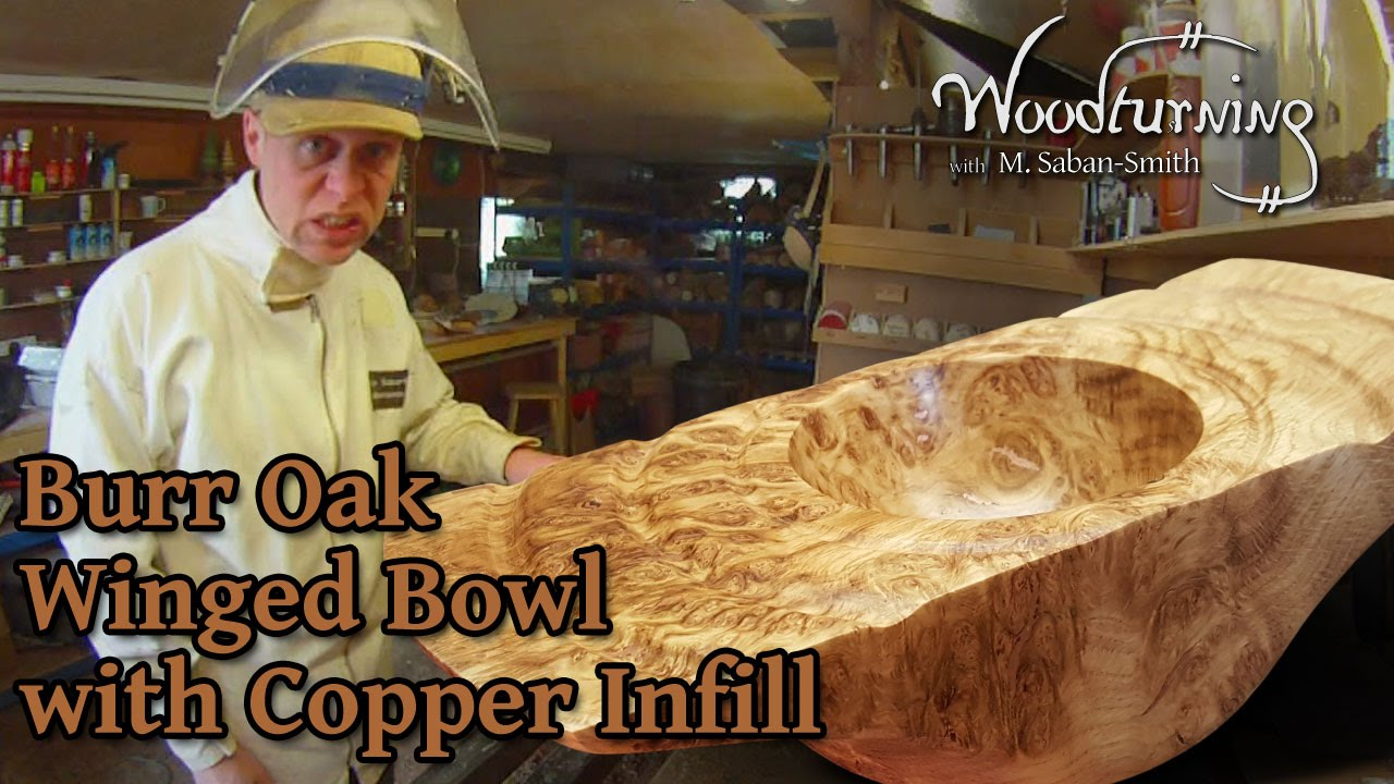 60 Woodturning Burr Burl Oak Winged Bowl With Copper