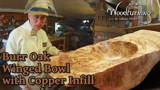 60 - Woodturning Burr Burl Oak Winged Bowl with Copper Inlay