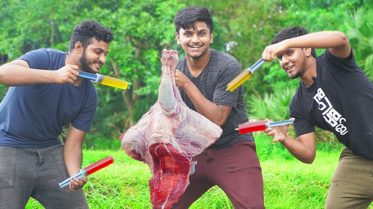 5 HOURS OF STEAMING INJECTED HUGE BEEF THIGH | Injected Beef Leg Recipe Cooking Village| Food4people