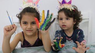 طفلة تعلم الالوان ! Learn Colors with Finger Family Songs |  learn colors for children body paint |