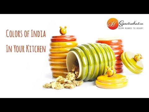 Online Shopping India - Kitchen containers with traditional india art Channapatna and Etikoppaka