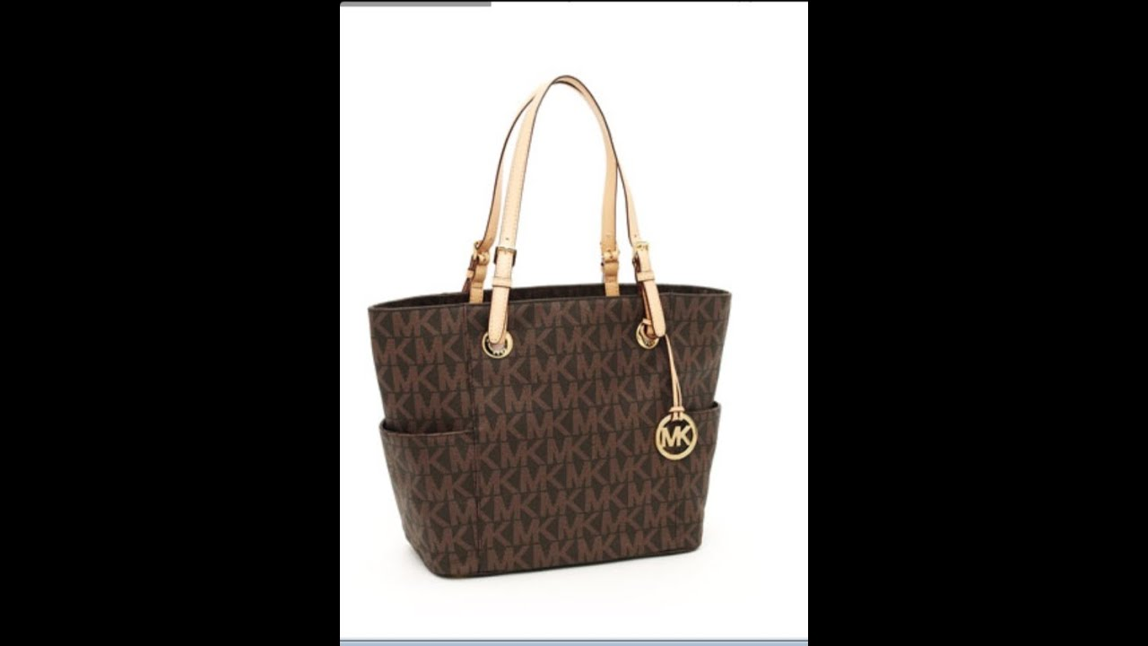 7486b607571d Michael Kors Logo Print Signature Tote Review - YouTube