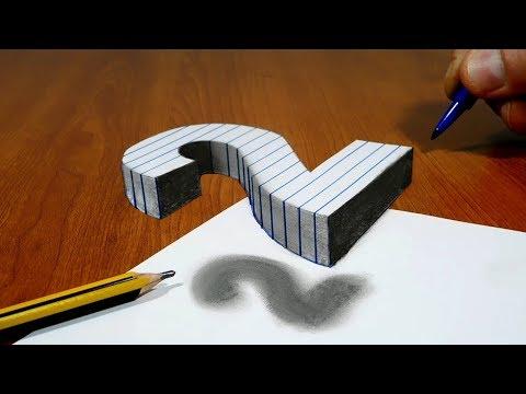 3D Trick Art On Line Paper, Floating Number 2