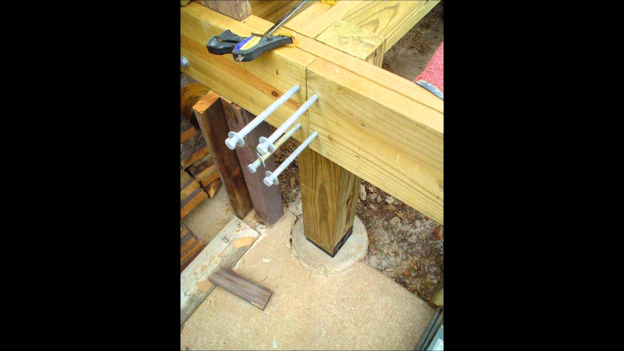 New Deck Post to Pier Installation  YouTube