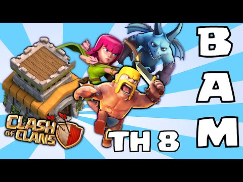 Clash of clans - TH 8 Bam Attack Strategy (FARMING LOOT)