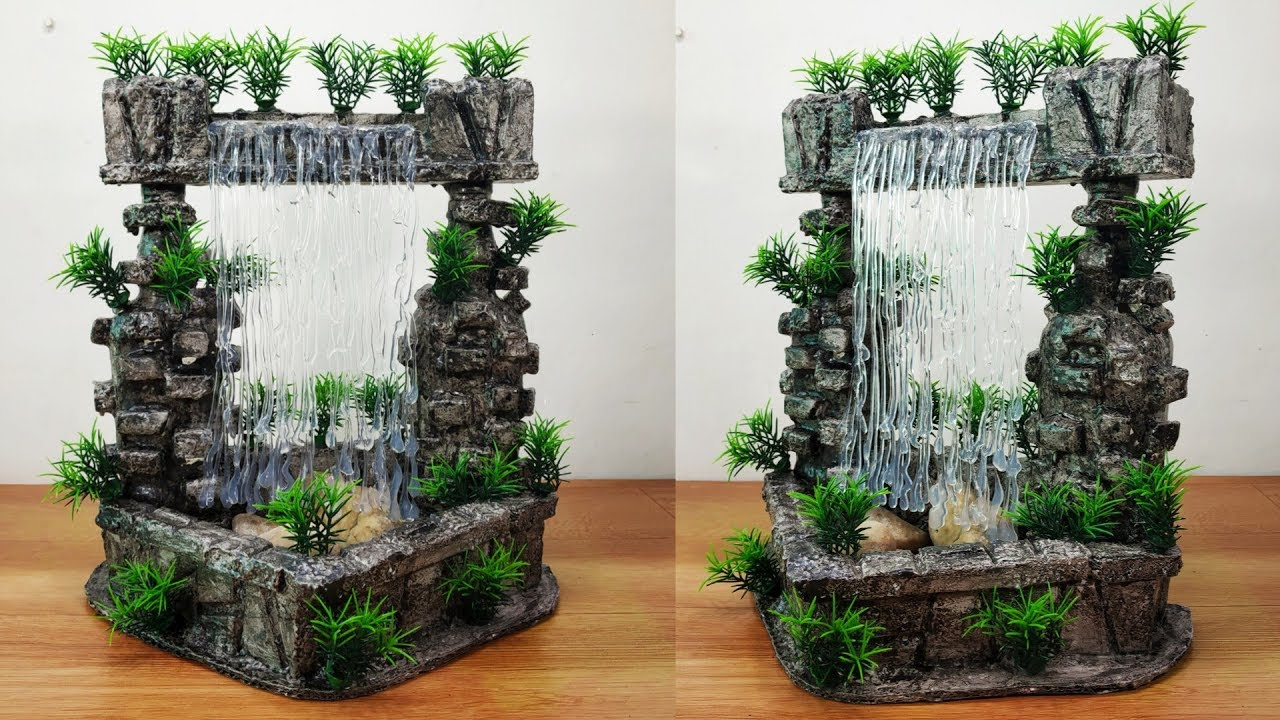 How To Make Very Nice Amazing Fountain Waterfall Show Piece Youtube