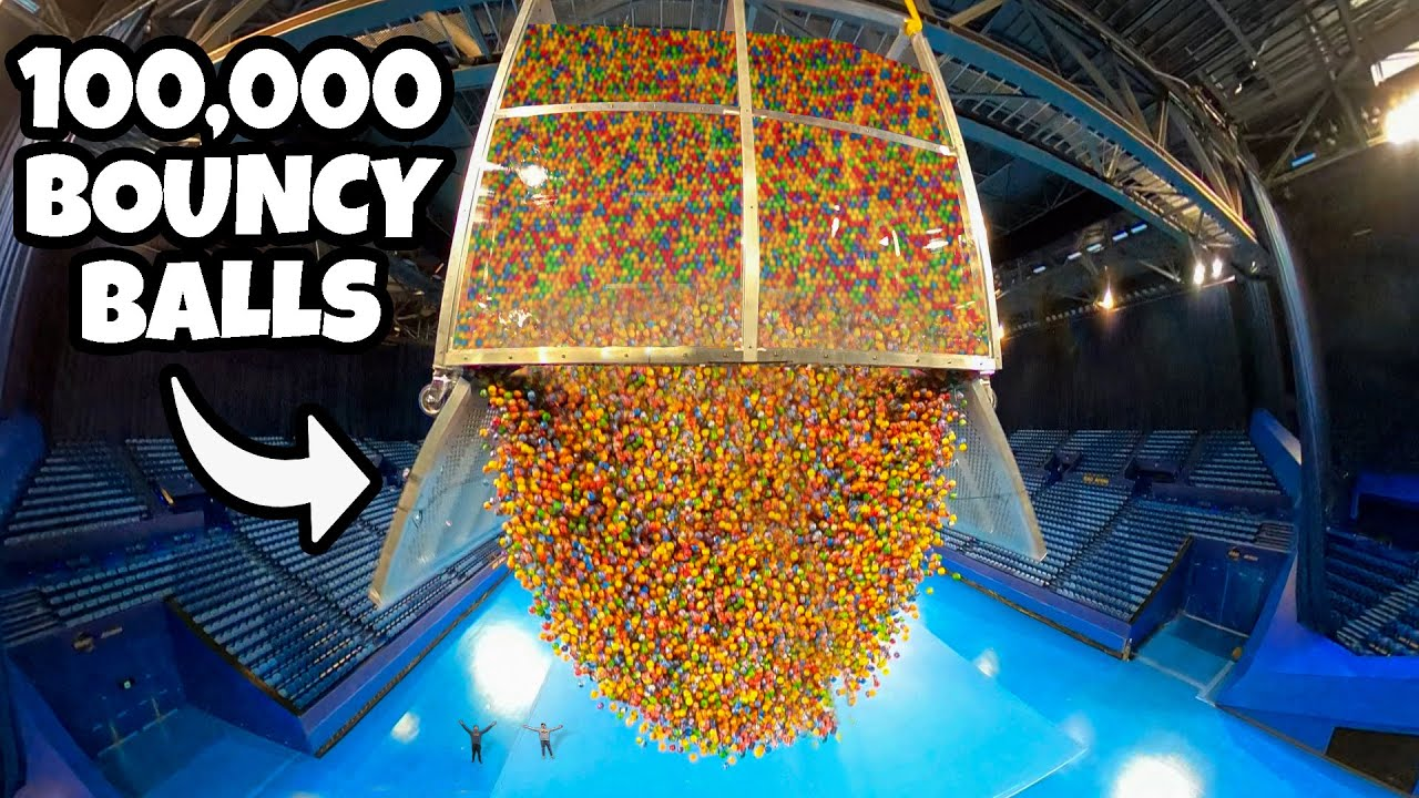 We Dropped 100,000 Bouncy Balls From ARENA ROOF!