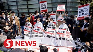 South Korean youth shave heads in Fukushima protest