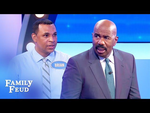 Steve Harvey roasts Brian! Dumbest answer ever? | Family Feud