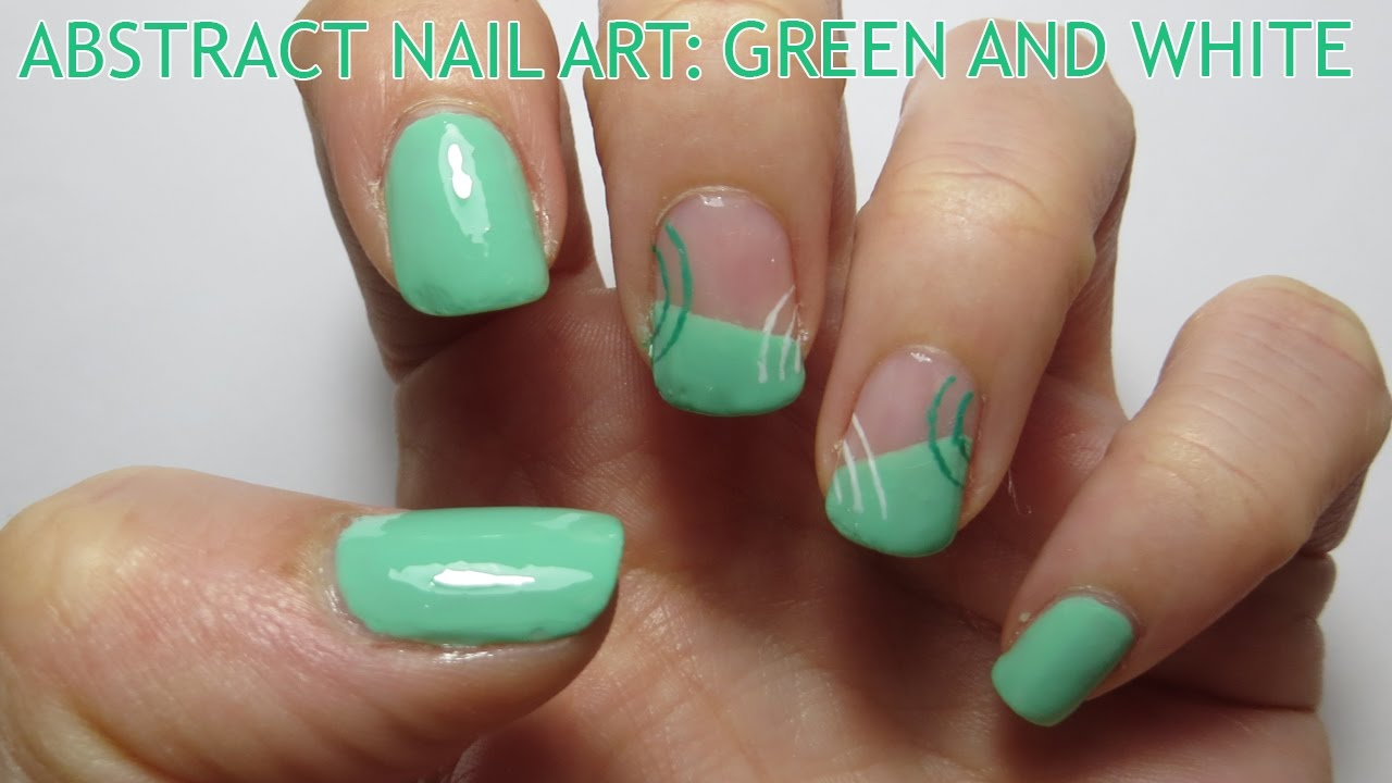 Abstract nail art green and white youtube abstract nail art green and white prinsesfo Gallery