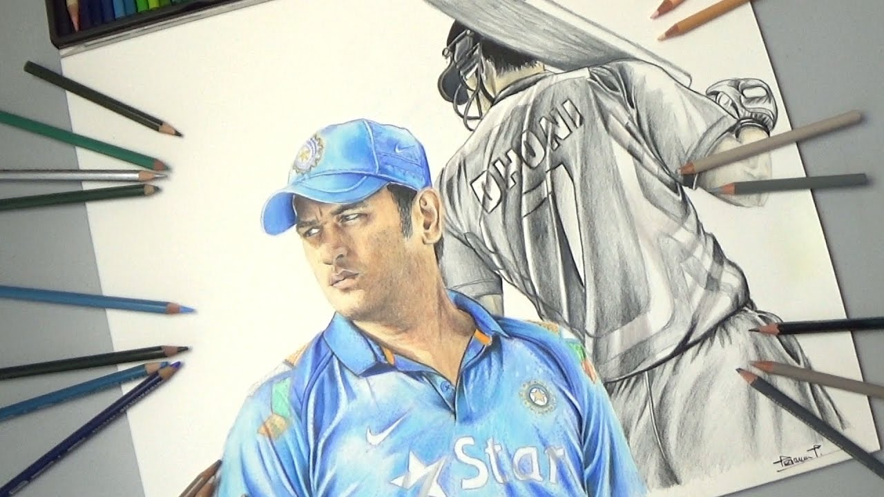 M s dhoni drawing m s dhoni the untold story youtube