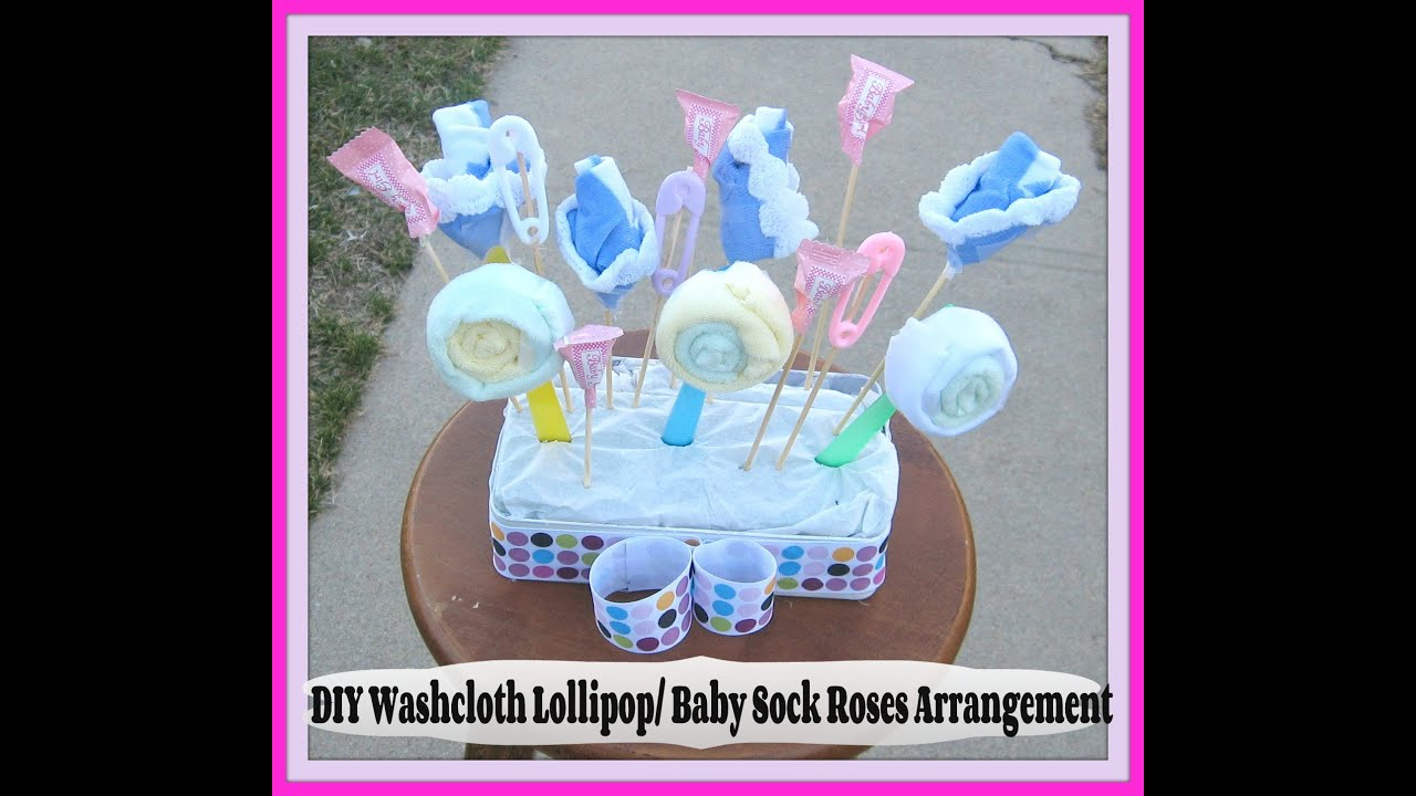 Diy Washcloth Lollipops And Baby Sock Roses How To Make A Washcloth
