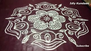 13x7 Dots Kolam Design in Simpe Method | Dots Rangoli Design | Chukkala Muggulu With 13x7 Dots