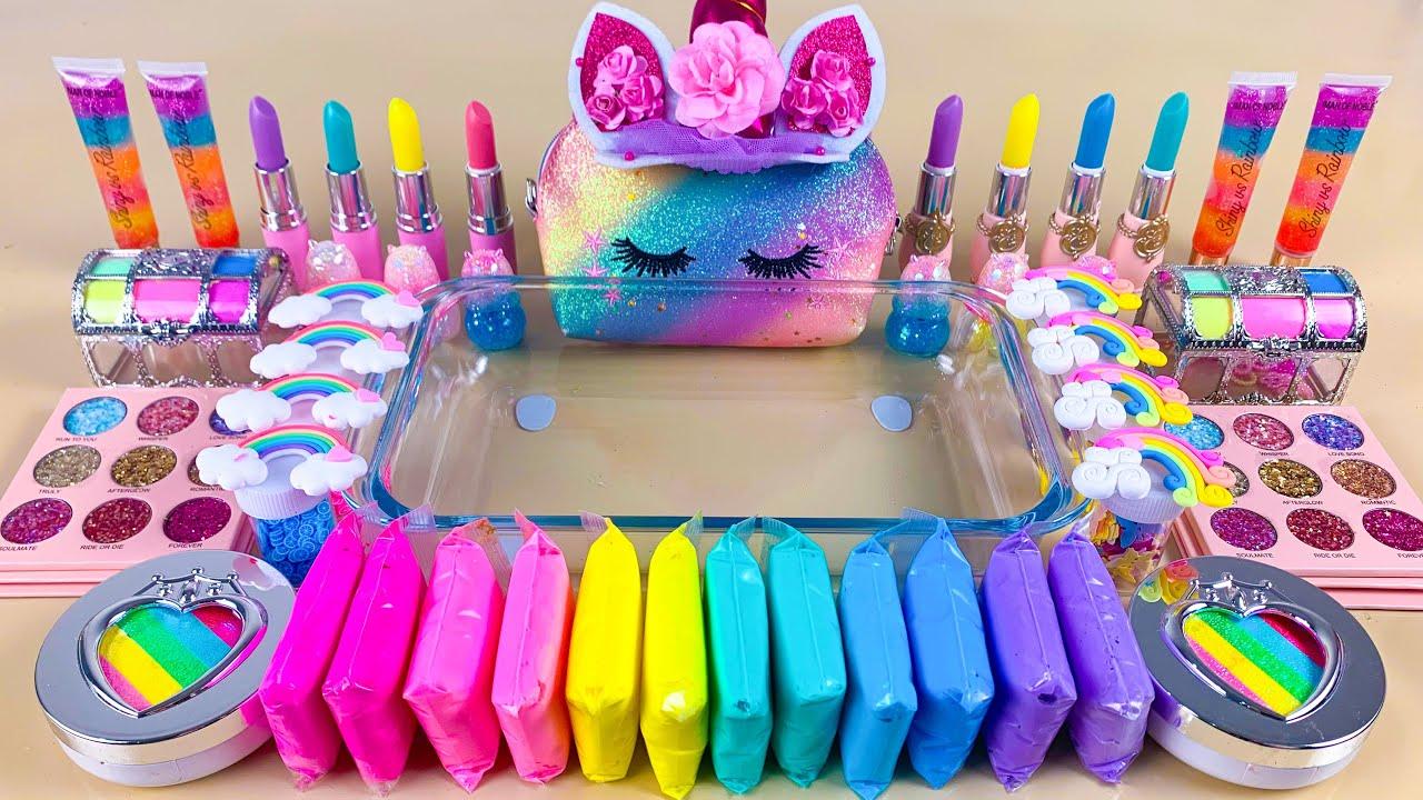 Pastel Unicorn Slime   Mixing Makeup,Eyeshadow,Glitter,Clay Into Slime💝Satisfying Slime Video #ASMR