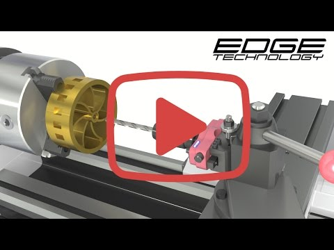 Drill holes on a manual or CNC lathe much faster using the Tool Post Drill Chuck by Edge Technology