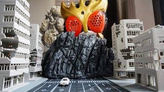 【サムネで使用しているジオラマアイテム】新商品登場!  PREZZA 岩山(ブラック)アンティーク階段★ジオラマ 模型 PREZZA ウルトラマンジード ゴジラ