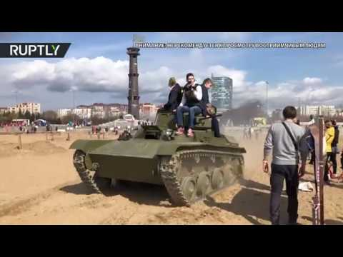 Эксклюзив: наезд танка на человека во время фестиваля в Петербурге